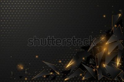Obraz Streszczenie czarne i złote tło wielokąta