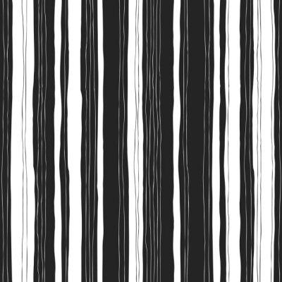 Obraz Streszczenie czarno-białe paski wzór. Bez szwu ręcznie rysowane l
