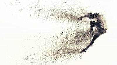 Obraz Streszczenie czarny plastik organizm ludzki manekin z rozpraszania cząstek na białym tle. Akcja taniec skok balet stwarzają. 3D renderowania ilustracji