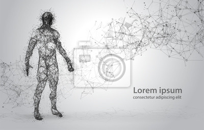 Obraz Streszczenie drutu ramki ludzkiego ciała. Poligonalny 3d model na białym tle. Kropki i linie Low Poly
