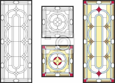 Obraz Streszczenie geometryczny wzór kwiatowy w ramie prostokątnej i kwadratowej / kolorowe witraż w klasycznym stylu na panele sufitowe lub drzwi, technika Tiffany. Wektor zestaw