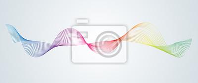 Obraz Streszczenie gładkie zakrzywione linie Element projektu Tło technologiczne z linią w postaci fali Stylizacja cyfrowego korektora Gładkie płynące faliste pasy tęczy wykonane przez mieszanki wektor
