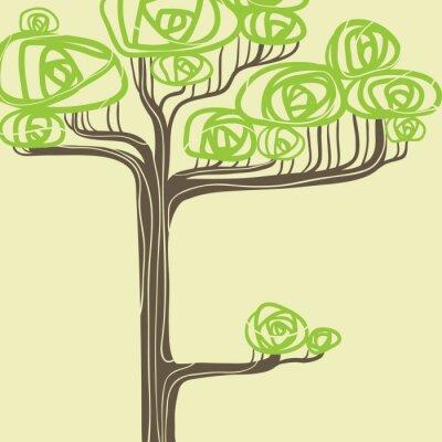 Obraz Streszczenie ilustracji wektorowych stylizowane zielone drzewo.