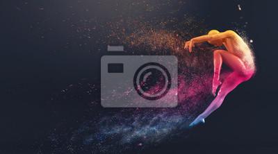 Obraz Streszczenie kolorowe plastikowe organizm ludzki manekin z rozpraszania cząstek na czarnym tle. Akcja taniec skok balet stwarzają. 3D renderowania ilustracji