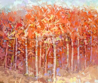 Obraz Streszczenie kolorowy obraz olejny pejzaż jesienny las