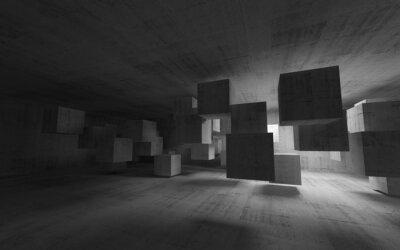 Obraz Streszczenie konkretne wnętrze z latania kostek. 3d render