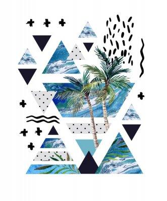 Streszczenie letni geometryczny plakat projektu.