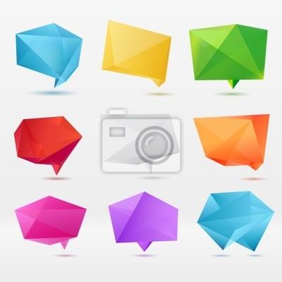 Streszczenie mowy origami bańka tło wektor