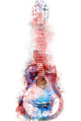 Obraz Streszczenie niebieski gitara akustyczna na pierwszym planie Zamknij się na tle akwarela malarstwo