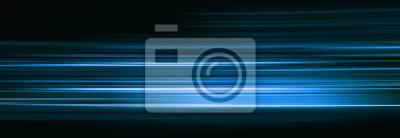 Obraz Streszczenie niebieskie światło wlec w ciemności, efekt rozmycia ruchu