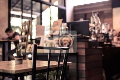 Obraz Streszczenie niewyraźne pasek obrazu i licznik w kawiarni