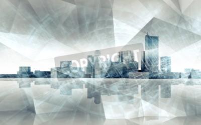Obraz Streszczenie nowoczesne skyline pejzaż. Niebieski stonowanych 3 D ilustracji z refleksji nad ziemią i chaotycznej struktury warstwy wielokąta, wielo efekt ekspozycji
