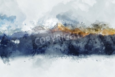 Obraz Streszczenie pasma górskie w świetle poranka, cyfrowy obraz akwarela