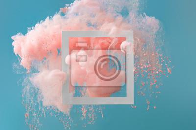 Obraz Streszczenie pastelowy różowy kolor farby z pastelowym niebieskim tle .. Płynna kompozycja z miejsca kopiowania. Minimalny naturalny luksus.