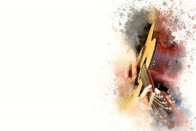 Obraz Streszczenie pi? Kny m ?? czyzna gra na gitarze muzyki Akwarela malarstwa t? A Cyfrowe ilustracji p? Dzlem do sztuki.
