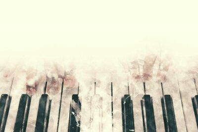 Obraz Streszczenie piękne ręcznie gry na klawiaturze fortepianu pierwszego planu Akwarele malowania tła i Digital pędzla ..