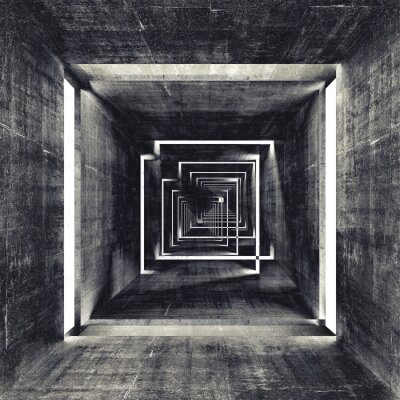 Obraz Streszczenie plac ciemny beton wnętrze tunelu, 3d tle
