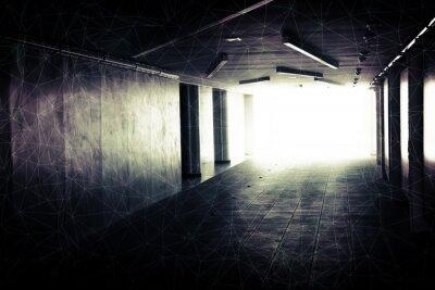 Obraz Streszczenie podziemny wnętrze korytarza ze świecącymi końca