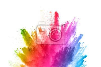 Obraz streszczenie prochu splatted tło. Kolorowy prochowy wybuch na białym tle. Kolorowa chmura. Kolorowy pył eksploduje. Paint Holi.