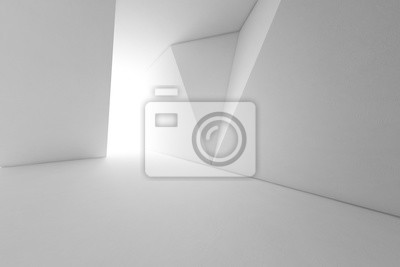 Obraz Streszczenie projektu wnętrz nowoczesnej architektury z pustym podłogą i białym tle ściany - renderowania 3d