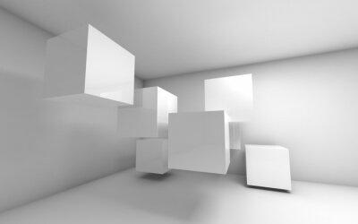 Obraz Streszczenie pusty 3d wnętrze z białymi latających kostki