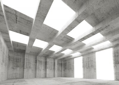Obraz Streszczenie pusty beton 3d wnętrze z światła i promieni
