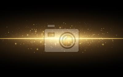 Obraz Streszczenie stylowy efekt świetlny na czarnym tle. Złota świecące linii neon. Złoty świetlisty pył i odblaski. Latarka. świetlisty ślad. Ilustracji wektorowych
