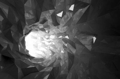 Obraz Streszczenie świecące czarny kryształ cyfrowe tunelu 3d