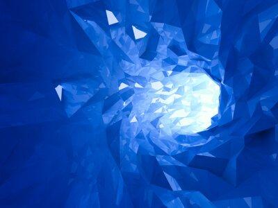 Obraz Streszczenie świecące jasny niebieski kryształ cyfrowe tunelu