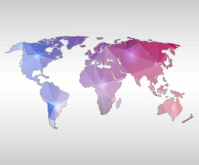 Obraz Streszczenie twórczej koncepcji wektora mapa świata internetowych i aplikacji mobilnych samodzielnie na tle. ilustracji wektorowych, oszczędny design template, oprogramowanie Business and social media