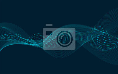 Obraz Streszczenie wektor fali przepływu. Konstrukcja oscylacji dźwięku. Płynące cząstki.