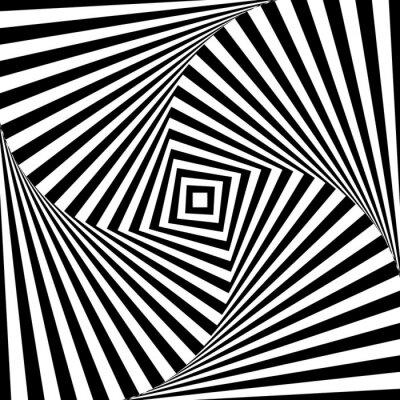 Obraz Streszczenie wektora optyka iluzja w czerni i bieli