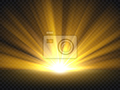 Obraz Streszczenie złote jasne światło. Złocisty połysk pęka wektorową ilustrację odizolowywającą