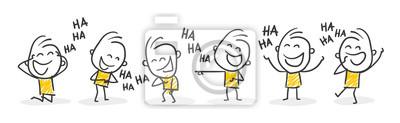 Obraz Strichfiguren / Strichmännchen: Lachen, auslachen, Spaß. (Nr. 366)