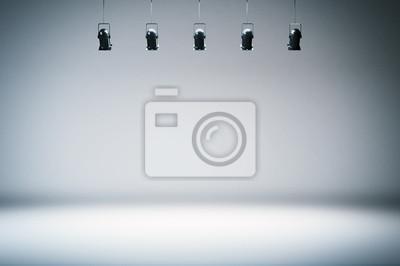 Obraz studio fotograficzne tło z reflektorami