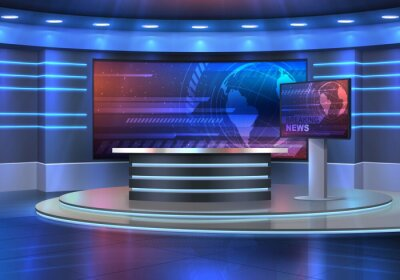 Obraz Studio interior for news broadcasting, vector empty placement with anchorman table on pedestal, digital screens for video presentation and neon glowing illumination. Realistic 3d breaking news studio