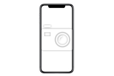 Obraz Studio shot of Smartphone iphoneX with blank white screen for Infographic Global Business Marketing investment Plan, mockup model similar to iPhone 11 Pro Max.