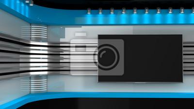 Obraz Studio telewizyjne. Niebieskie studio. Backdrop na programy telewizyjne .TV na ścianie. Studio prasowe. Idealne tło dla każdego filmu lub klipu wideo lub produkcji klipów. Grafika trójwymiarowa.