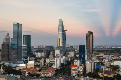 Stunning sunset over the modern Ho Chi Minh City, or Saigon, downtown and business district in Vietnam largest city in the south