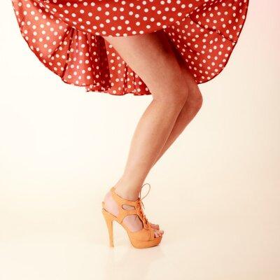 Obraz Styl pinup. Sexy nogi kobiet w tańcu.