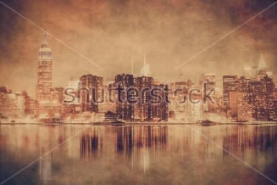 Obraz Styl Vintage Nowy Jork panorama Manhattanu z grunge tekstur
