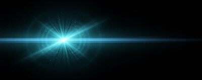 Obraz Stylish tech blue light effect isolated on a dark background. Vector footage for your project. Explosion with glowing sparks. Magic beams. Bright flare with horizontal rays.