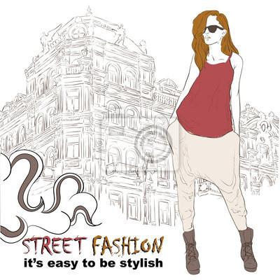 Obraz Stylowa dziewczyna na ulicy ilustracji wektorowych