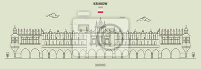 Sukiennice in Krakow, Poland. Landmark icon