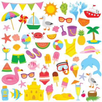 Obraz Summer and beach clip art set with cute illustrations for kids