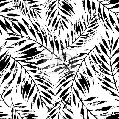 Summer art illustration: rough grunge tropical leaves background in black and white colors.