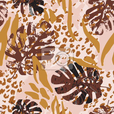Summer botanical seamless pattern: grunge marble tropical leaves, leopard fur coat, zebra stripes animal skin print