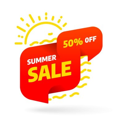Summer sale banner template design with bubble. Discount offer price tag. 3D paper tape vector illustration.