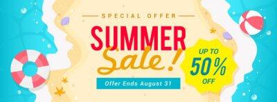 Obraz Summer sale banner vector illustration. top view of summer beach waves background