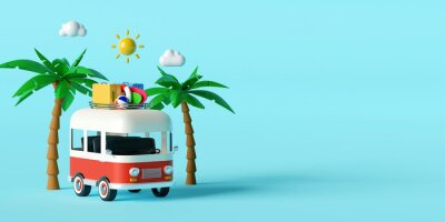 Obraz Summer vacation concept, Travel to the beach by van carrying travel accessories under palm tree on blue background, 3d illustration